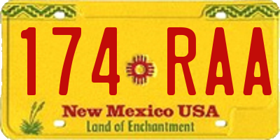 NM license plate 174RAA
