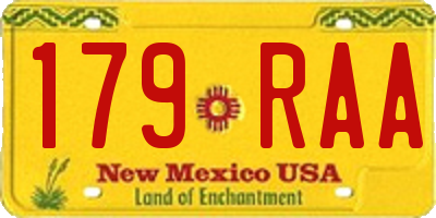 NM license plate 179RAA