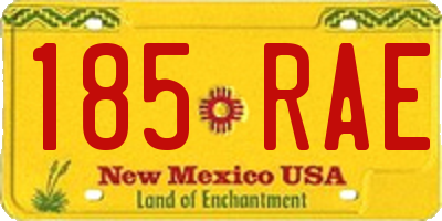 NM license plate 185RAE