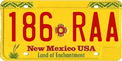 NM license plate 186RAA