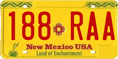 NM license plate 188RAA