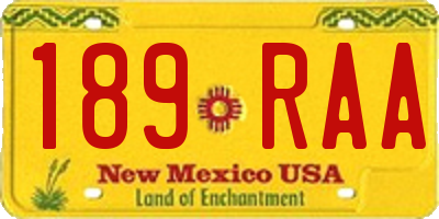 NM license plate 189RAA