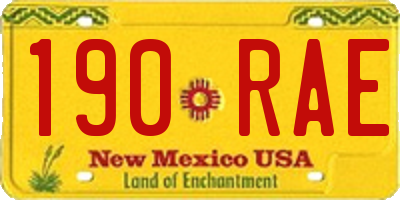 NM license plate 190RAE