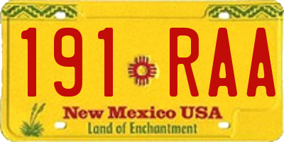 NM license plate 191RAA