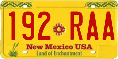 NM license plate 192RAA