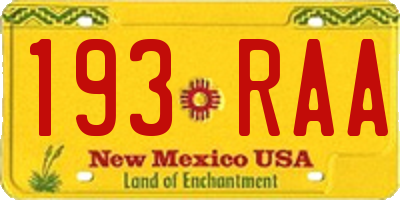 NM license plate 193RAA