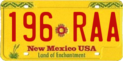 NM license plate 196RAA