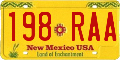 NM license plate 198RAA