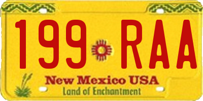 NM license plate 199RAA