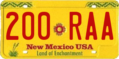 NM license plate 200RAA