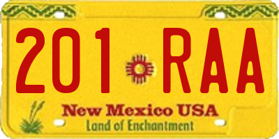 NM license plate 201RAA