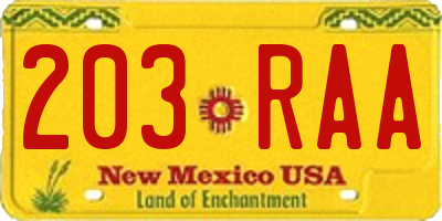 NM license plate 203RAA