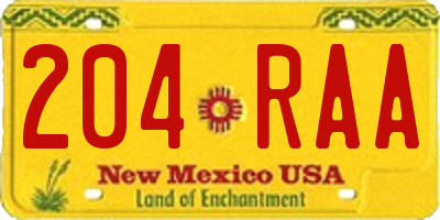 NM license plate 204RAA