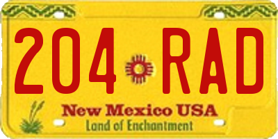 NM license plate 204RAD