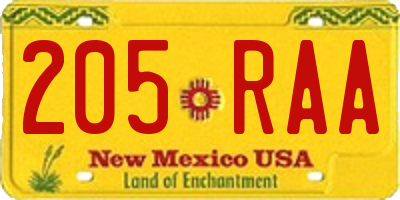 NM license plate 205RAA