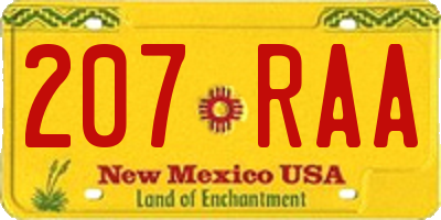 NM license plate 207RAA