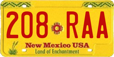 NM license plate 208RAA