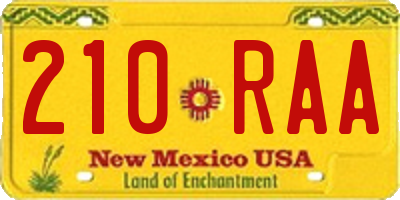 NM license plate 210RAA