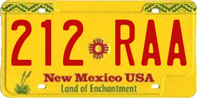 NM license plate 212RAA