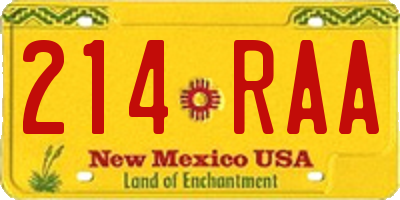 NM license plate 214RAA