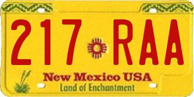 NM license plate 217RAA
