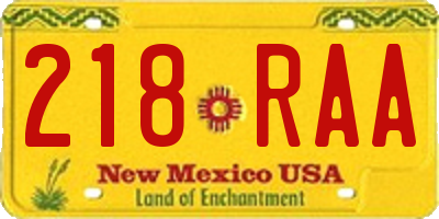 NM license plate 218RAA