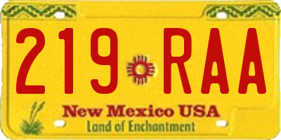NM license plate 219RAA