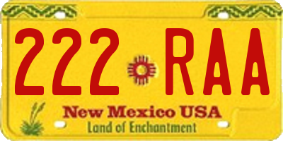 NM license plate 222RAA