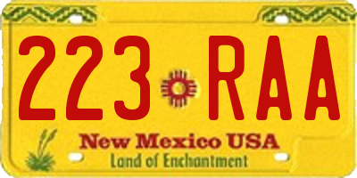 NM license plate 223RAA
