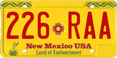 NM license plate 226RAA