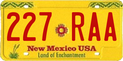 NM license plate 227RAA