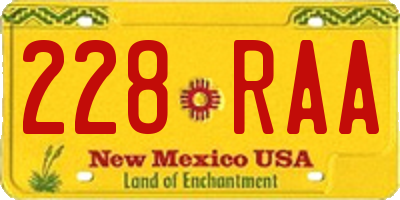 NM license plate 228RAA