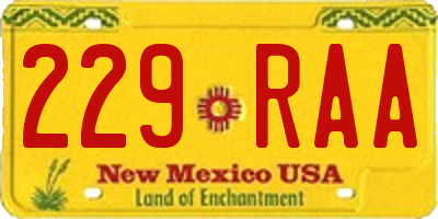 NM license plate 229RAA