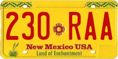 NM license plate 230RAA