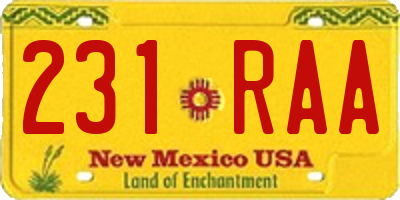 NM license plate 231RAA