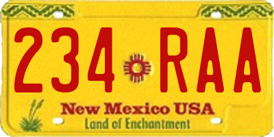 NM license plate 234RAA