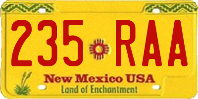 NM license plate 235RAA