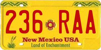 NM license plate 236RAA