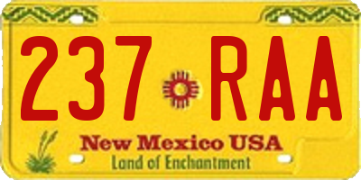 NM license plate 237RAA