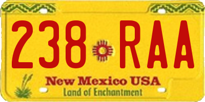 NM license plate 238RAA