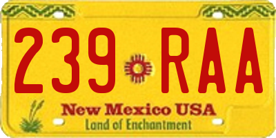 NM license plate 239RAA