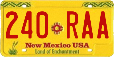 NM license plate 240RAA