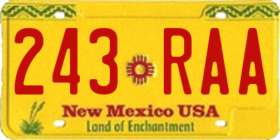 NM license plate 243RAA