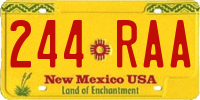 NM license plate 244RAA