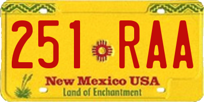 NM license plate 251RAA