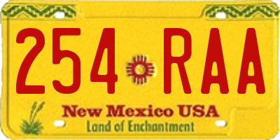 NM license plate 254RAA