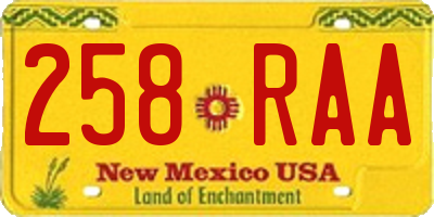 NM license plate 258RAA
