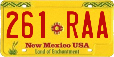 NM license plate 261RAA