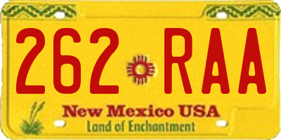 NM license plate 262RAA