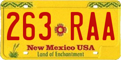 NM license plate 263RAA